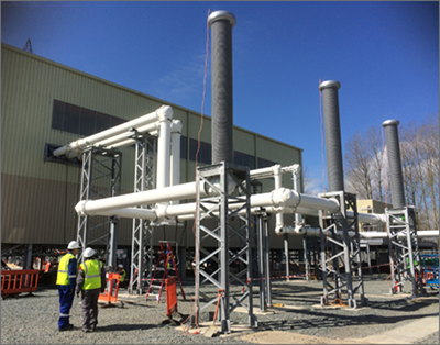 420 kV gas-insulated line filled with g3 at National grid's new Sellindge substation in the UK